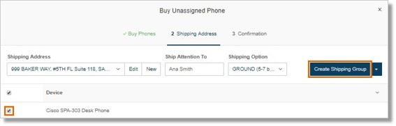 Select your Shipping Option, select your device, and then click Create Shipping Group.
