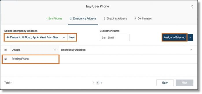 Select from your list of saved Emergency Addresses and assign it to your existing phone. Click Next to complete the process.