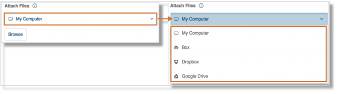 You may attach your Fax from your computer, Dropbox, box, or Google Drive. Go to Supported file attachments for faxes for more information on file types supported by FaxOut.