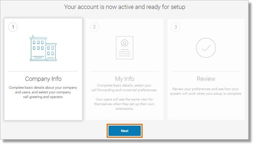 Set up your activated System starting with Company Info. Click Next.