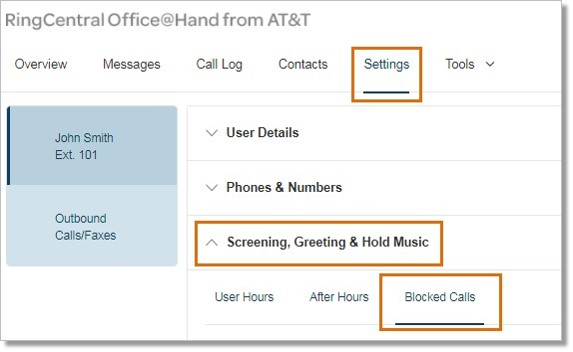 Go to Settings > Screening, Greeting & Hold Music > Blocked Calls.