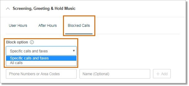 Under Blocked Calls, select your Block option.