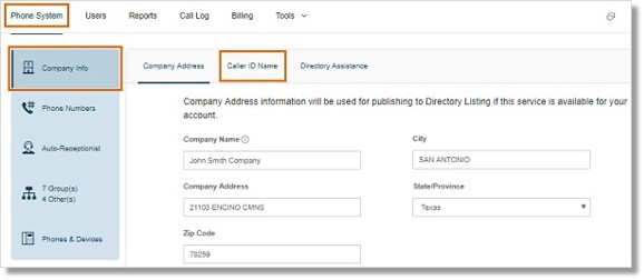 Go to Admin Portal > Phone System > Company Info > Caller ID Name.