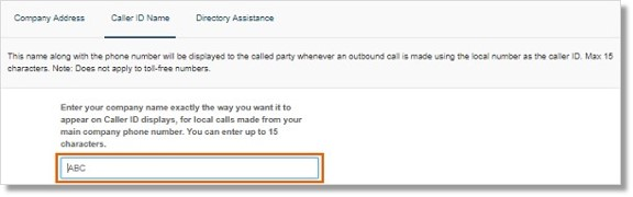 Note: Enter up to 15 characters (including spaces). This does not apply to toll-free numbers.