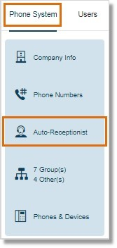 Under Phone System, click Auto-Receptionist.