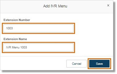 Specify the Extension Number and the Extension Name. Click Save.