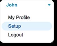 Click your name, and select Setup.