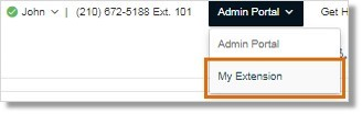 Note: If you are logged in as an Administrator, hover on Admin Portal, then click My Extension. Go to Step 3.