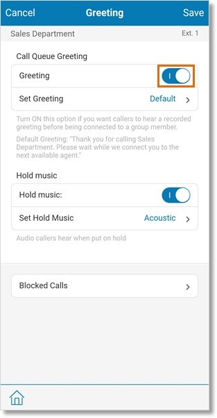 Enable or disable the call queue's Greeting. Go to Step 14 if you disabled the Greeting.