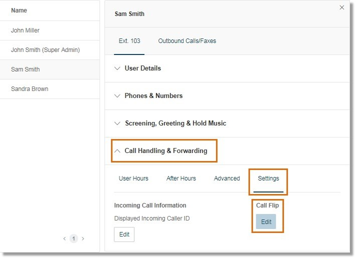 Go to Call Handling and Forwarding > Settings, and then click Edit under Call Flip.