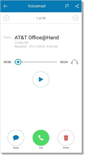 When previewing a voicemail, you can Play and Pause the message.