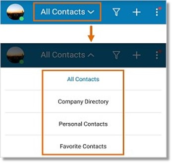 Tap the drop-down arrow, then select the list of Contacts to view.