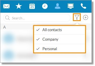 To view or filter your Contacts from your Office@Hand Desktop App, click the Filter button.