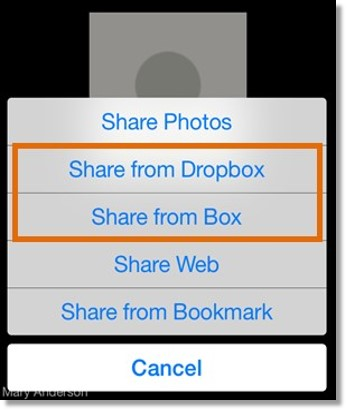 Tap Share, then tap either Share from Dropbox or Share from Box.