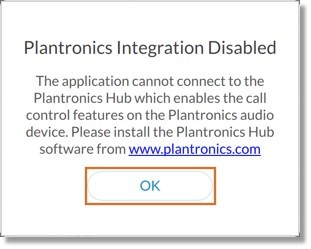 When the Plantronics activation fails, an error message appears