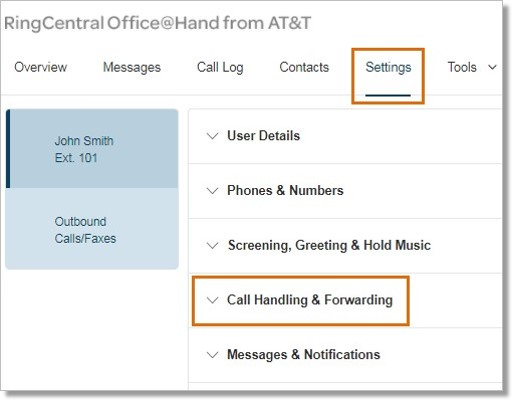 Click Settings, and then Call Handling & Forwarding.