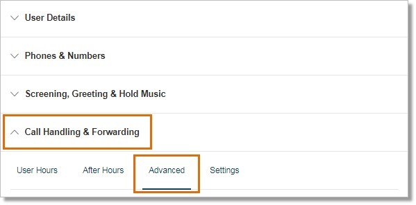 Under Call Handling & Forwarding, click Advanced > Add Rule.
