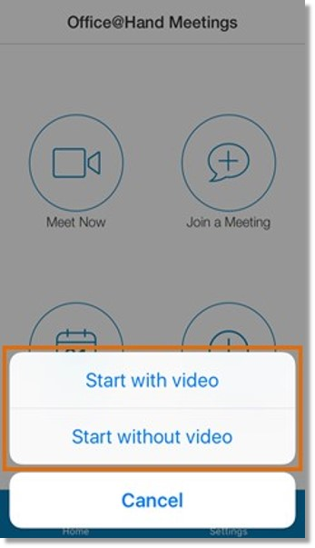 Tap either Start with video or Start without video.