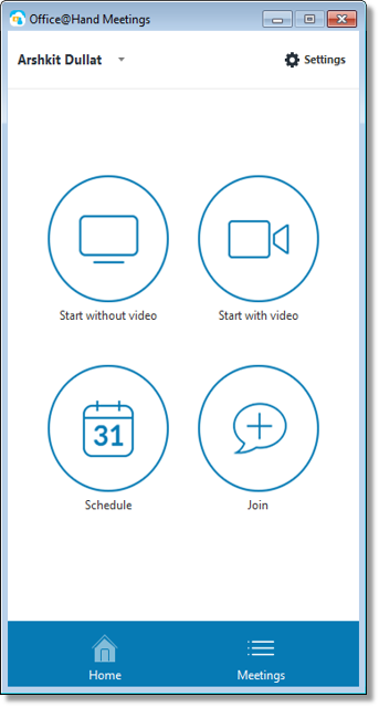 Select by clicking any of the buttons on the meetings screen.