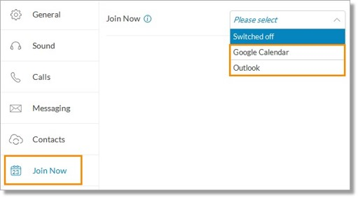 Choose either Google Calendar or Outlook from the drop-down menu.