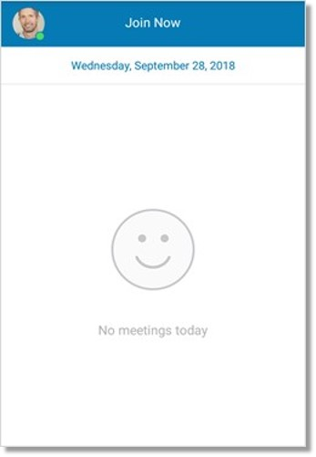 If you have no meetings scheduled for the day, you will see the screen below instead.