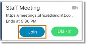 Tap Join to join a meeting from the Join Now screen.