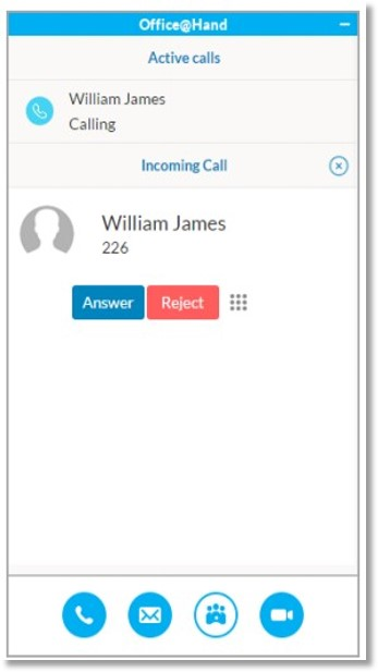 When an incoming call arrives, you can Answer or Reject directly from the AT&T Office@Hand for Skype for Business app.