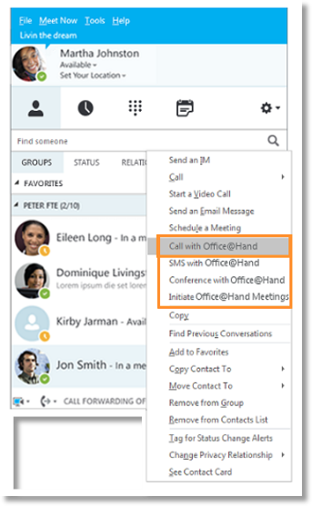 right-click on a Skype for Business contact and select Call with Office@Hand, the contact's phone numbers saved in Office@Hand and Skype for Business will be populated