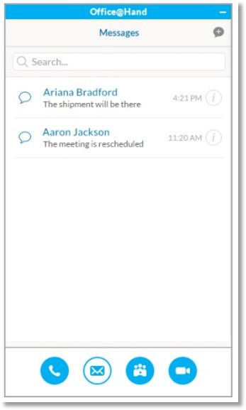 When you select the SMS tab in the AT&T Office@Hand for Skype for Business app, you will see the conversations, with new messages highlighted in blue.