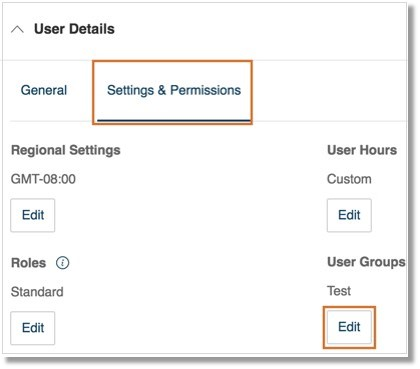 Go to User Details > Settings & Permissions. Click Edit under User Groups.