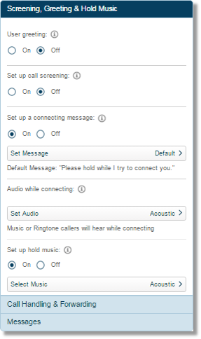 Click Screening, Greeting and Hold Music, and configure to your preferred settings.