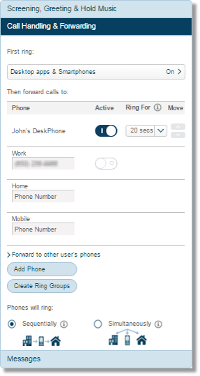 Click Call Handling & Forwarding, and configure to your preferred settings.