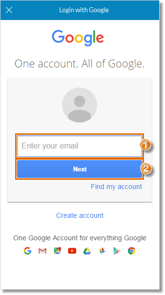 Enter Google email and click Next.