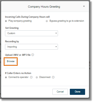 On Import, click Browse to locate the recording