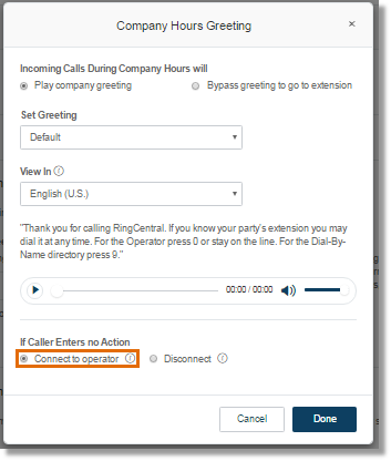 Select this option if you want to direct callers to ext. 0, or the Operator Extension, after the greeting.