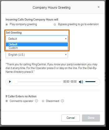 Select Default on the drop down menu under Set Greeting.