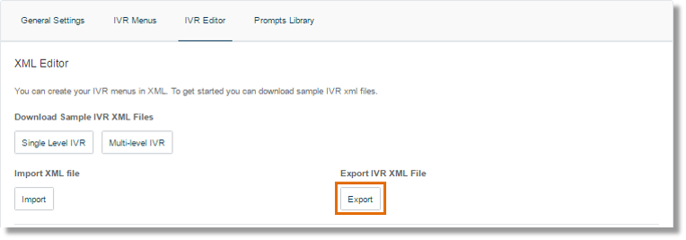 Under Export IVR XML file, click Export.