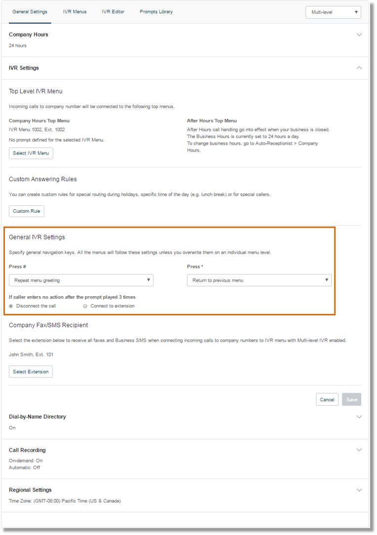 Under the General IVR Settings, you can configure the actions for general navigation keys.