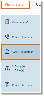 Click on Phone System > Auto-Receptionist.