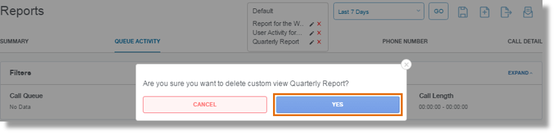 Click YES to confirm Report deletion.