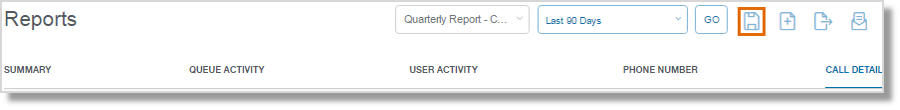 Set the filters for your Report, then click the Save icon