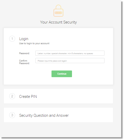 Setup the Password, PIN and Security Question.  Click Done.