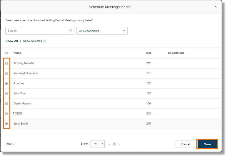 CLick the checkbox of the User/s you want to grant permission to schedule meetings for you, and then click Save