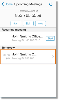 The Upcoming Meetings screen displays a list of all your upcoming meetings