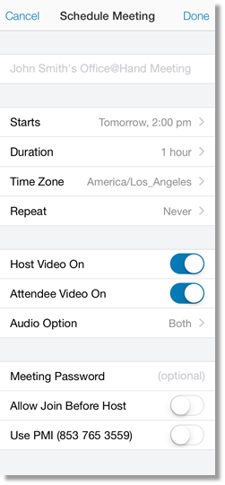 The Schedule Meeting screen appears next. Here, you can schedule your upcoming meeting and customize the settings.