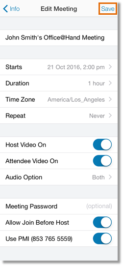 Review the meeting details, then change the information that needs to be modified. Tap Save.