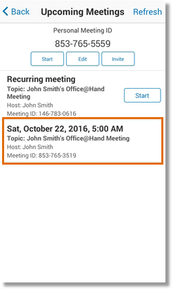 The Upcoming Meetings screen displays a list of all your upcoming meetings. To