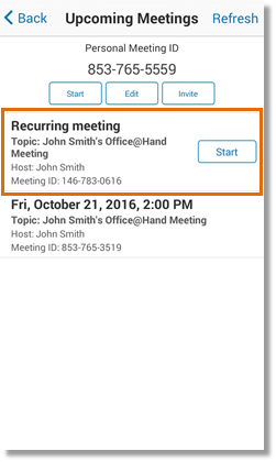 Select by tapping the recurring meeting that needs to be updated.