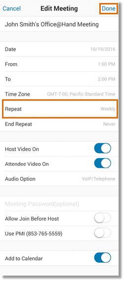 Review your meeting details. Change the rest of the information that needs to be modified. Tap Done.