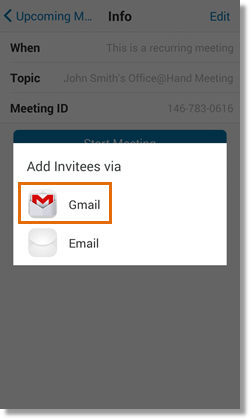 Send an invite to your contacts or meeting participants. Tap your preferred email.